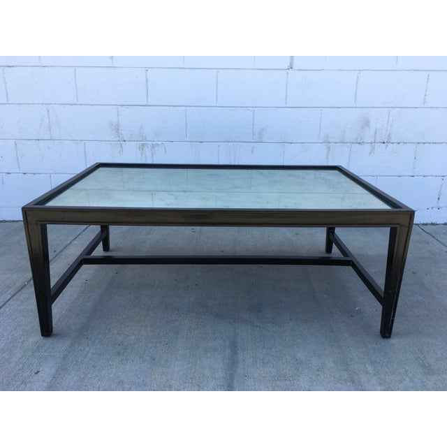 Traditional Antique Mirror Top Coffee Table With Ebonized Black Walnut Frame For Sale - Image 3 of 13