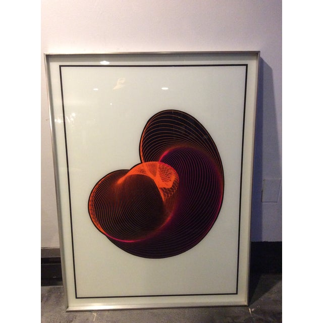 Mid-Century Modern Op Art Spirograph Painting - Image 6 of 10