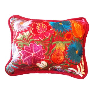 Handmade Mexican Embroidery Pillow Cover For Sale