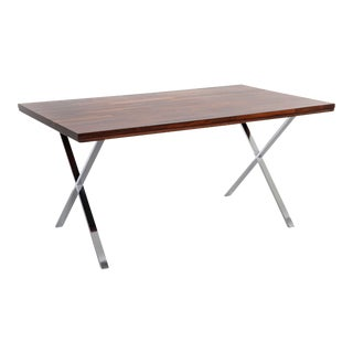 Milo Baughman Rosewood + Chrome Campaign Desk For Sale