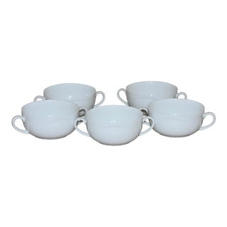 Kaiser Porcelain Germany Domino White Cream Soup Bowls - Set of 5 For Sale