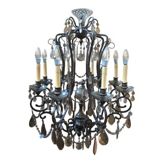 Bronze & Smoked Glass Wrought Iron Chandelier