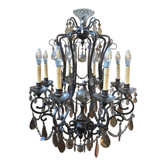 Bronze & Smoked Glass Wrought Iron Chandelier - Image 1 of 3