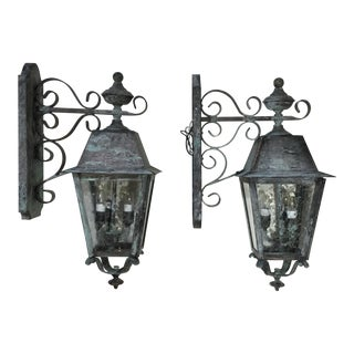 Solid Handcrafted Brass Wall Hanging Lanterns - a Pair For Sale