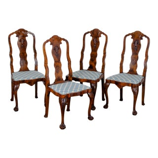 Late 19th Century Antique Queen Anne Style Chairs - Set of 4 For Sale