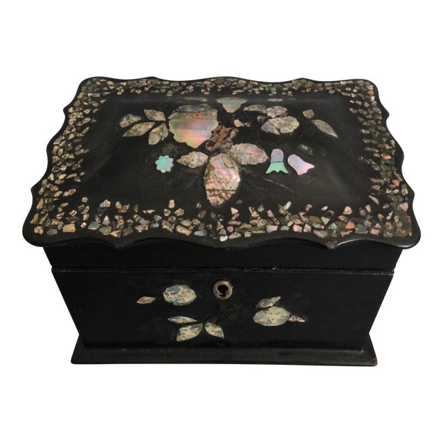 19th-C. English Papier Mache Mother-Of-Pearl Box For Sale