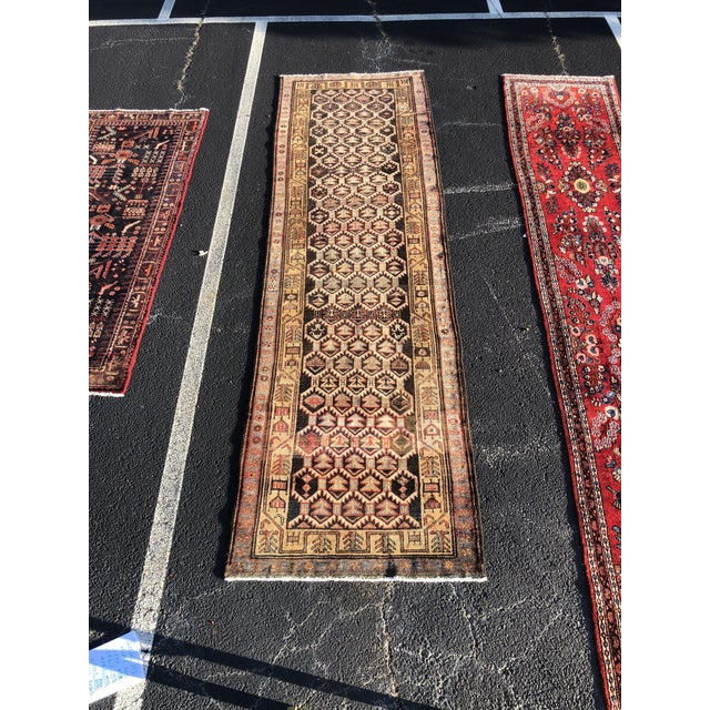 1950s Vintage Persian Meshkin Runner Rug - 3′10″ × 13′2″ For Sale - Image 13 of 13