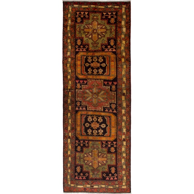 """Ardabil Vintage Persian Rug, 3'6"""" x 10'2"""" feet For Sale - Image 5 of 5"""