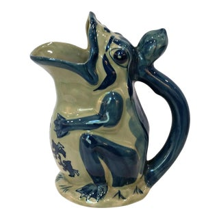 Vintage Chinoiserie Handpainted Asian Frog Stoneware Garden Pitcher For Sale