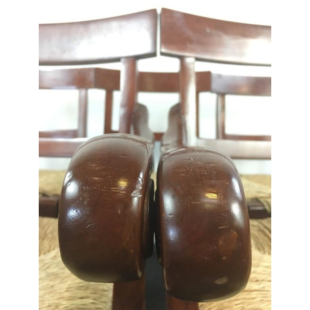 Vintage Carved Mahogany & Rush Seat Dining Chairs - Set of 6 - Image 4 of 4