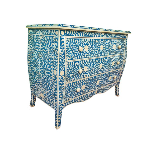 French Style Curved Bone Inlay Blue Chest - Image 3 of 4