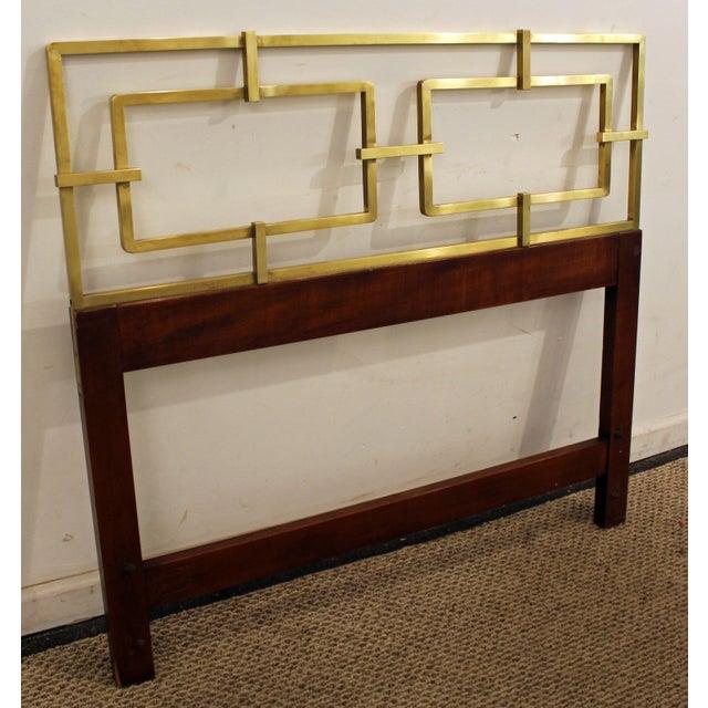 Mid-Century Modern Hollywood Regency Kittinger Brass/Walnut Twin Size Headboard - Image 2 of 11