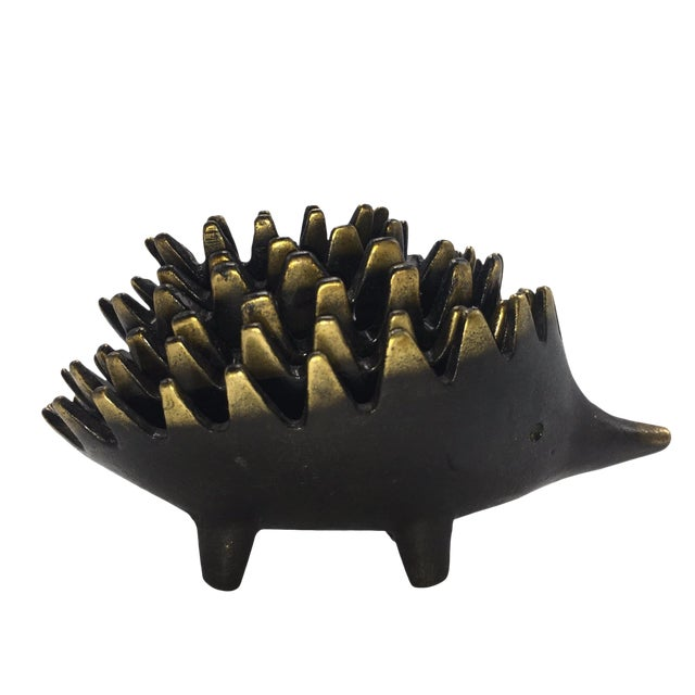 Brass Nesting Hedgehog Ashtrays or Dishes in the Style of Walter Bosse - Set of 6 - Image 1 of 6