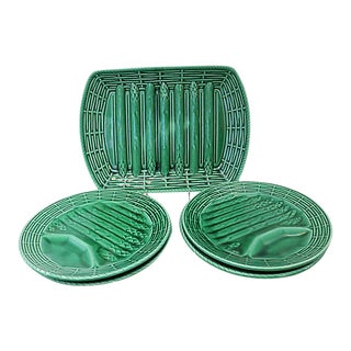 Mid-Century French Majolica Asparagus Set - 5 Pieces For Sale