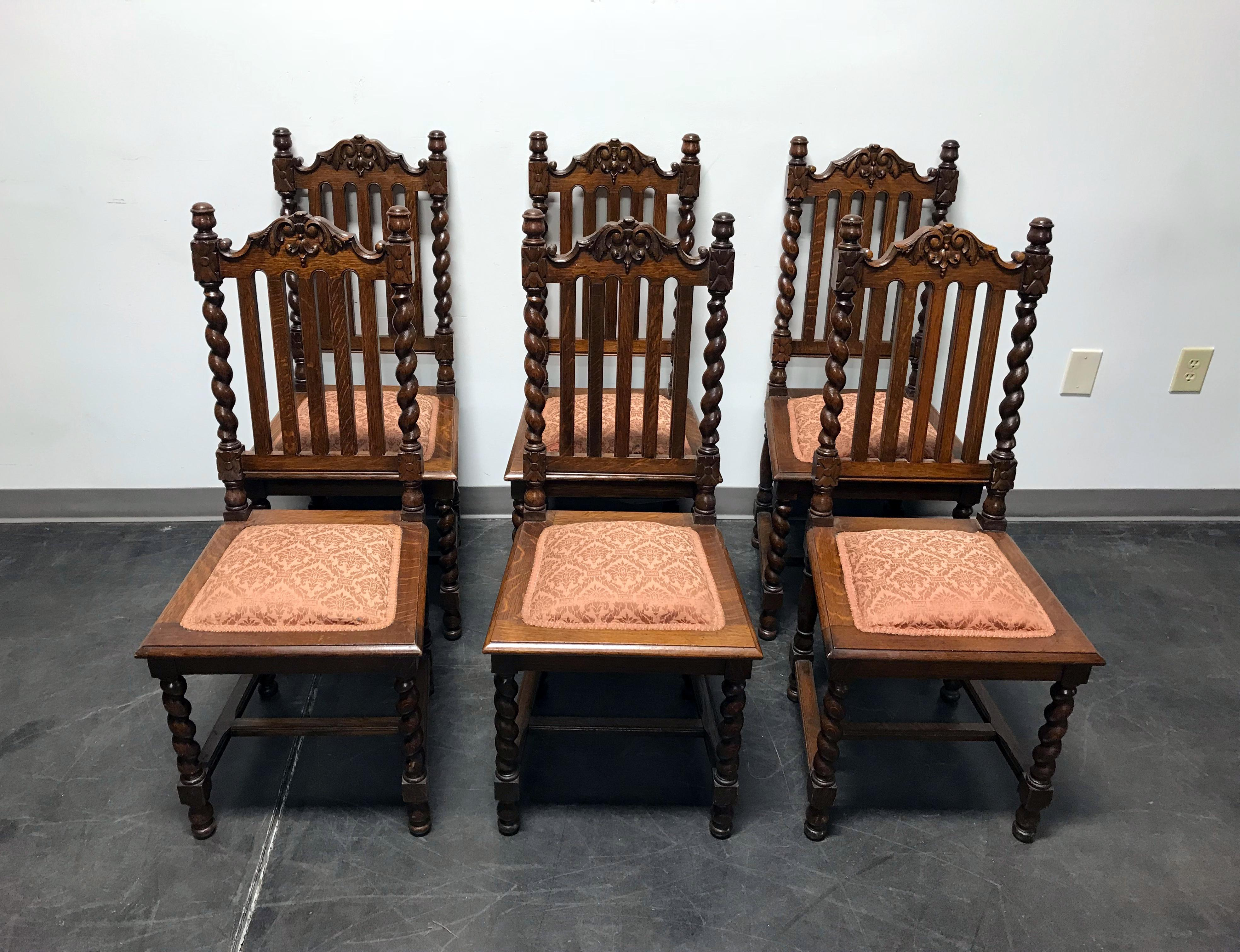 Victorian Gothic Tiger Oak Barley Twist Dining Side Chairs   Set Of 6    Image 3