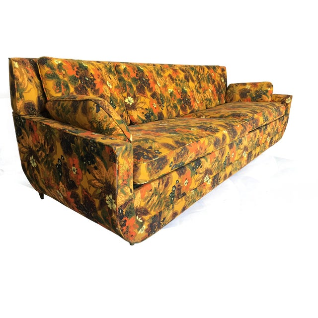 Danish Modern 1967 Vintage Bernard Castro Mid Century Modern Floral Sleeper Sofa For Sale - Image 3 of 5