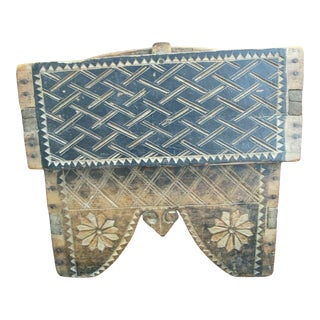 Antique Burmese Carved Wood Betel Nut 3 Compartment Storage Trinket Box For Sale