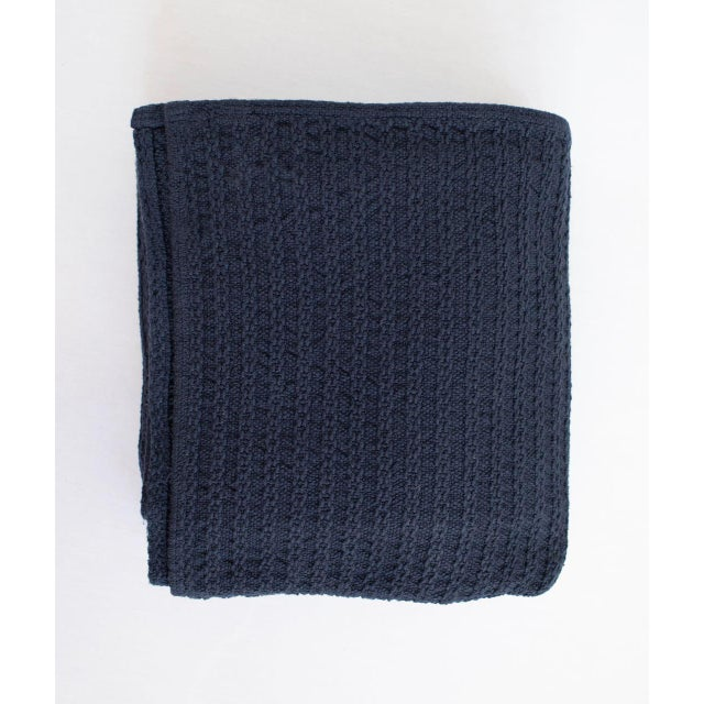 Cableknit Blanket in Indigo, Full/Queen For Sale - Image 9 of 9