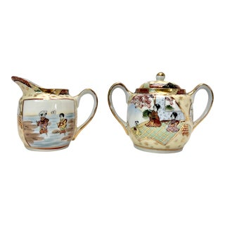 Japanese Chinoiserie Cream and Sugar Bowl Set For Sale