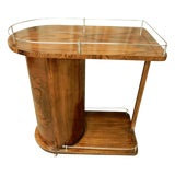 Image of 1930's Art Deco Walnut Bar Cart For Sale