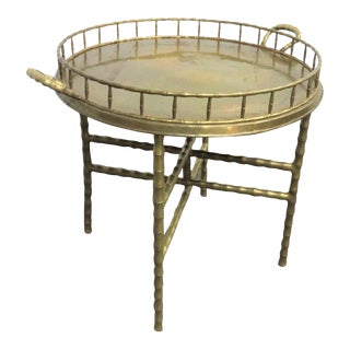 Hollywood Regency Brass Faux Bamboo Tray Table For Sale