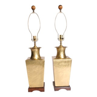 Vintage Hollywood Regency Brass Table Lamps - A Pair