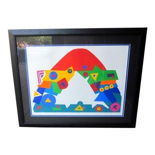 "1990s Daniel Gelakoska ""Stardome"" Graphic Primary Colors Serigraph Print For Sale"