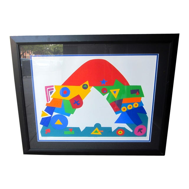 "1990s Daniel Gelakoska ""Stardome"" Graphic Primary Colors Serigraph Print For Sale"