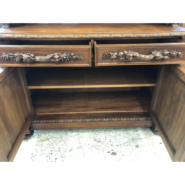 Brown 19th Century St. Hubert French Louis XIII Carved Walnut Buffet For Sale - Image 8 of 11