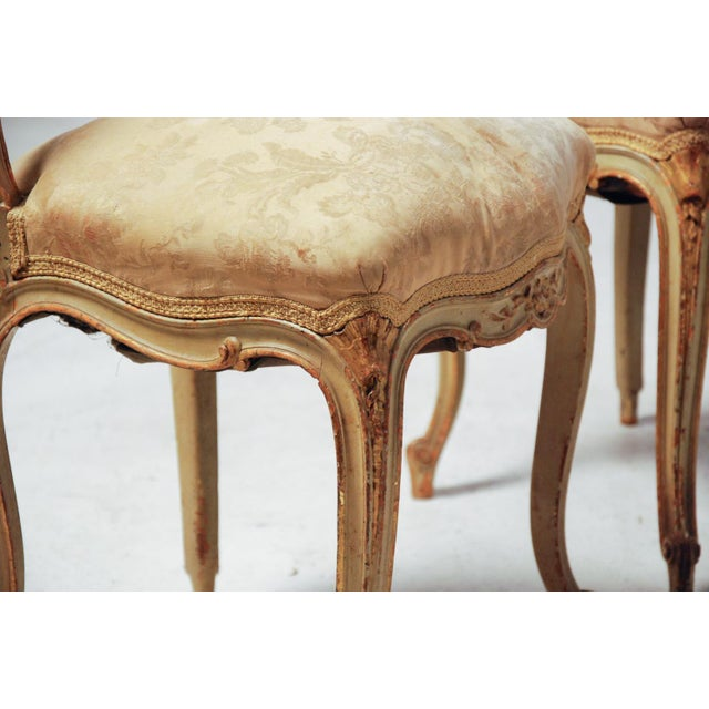 French Gilt & Painted Boudoir Chairs - A Pair For Sale - Image 9 of 11