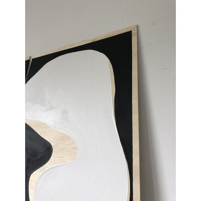 Exposed Birch Wood Abstract Black and White Diptych For Sale In Los Angeles - Image 6 of 10