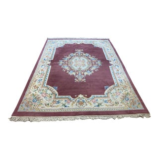Rose Pink Wool Area Rug-8' X 11' For Sale