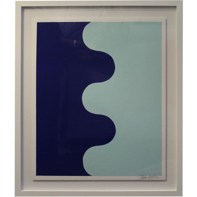 Framed Hairpin Serpentine in Bottle Blue and Aqua by Stephanie Henderson - Image 1 of 6