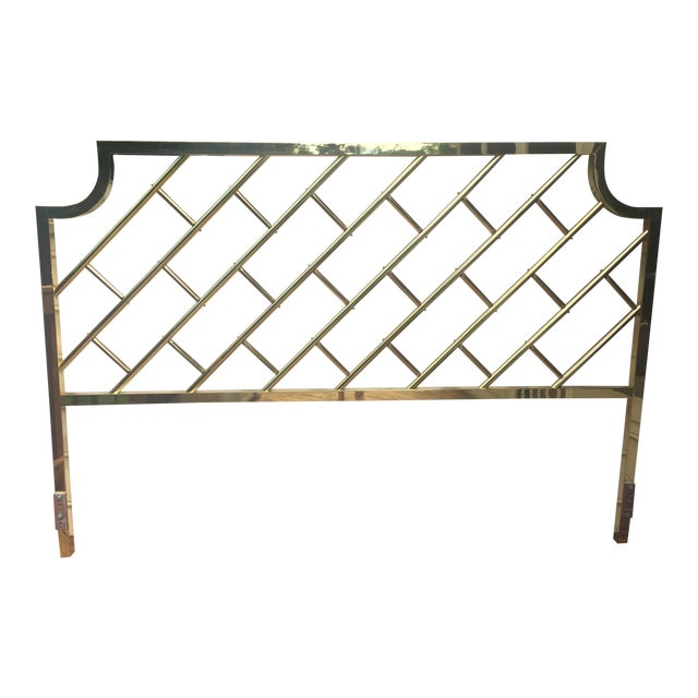 Chippendale Style Brass King Headboard For Sale