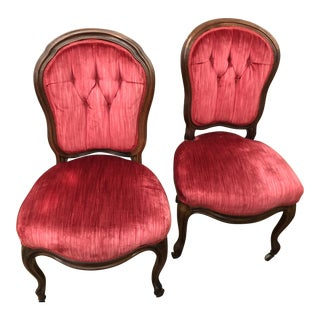 Late 19th Century Antique Velvet Parlor Chairs- A Pair For Sale