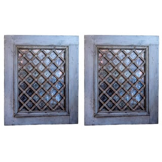 Painted Wrought Iron Lattice Mirrored Windows For Sale