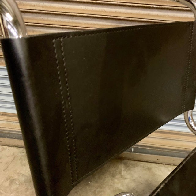 Vintage Mid Century Mart Stam Leather and Chrome Cantilever Chairs- A Pair For Sale - Image 11 of 13