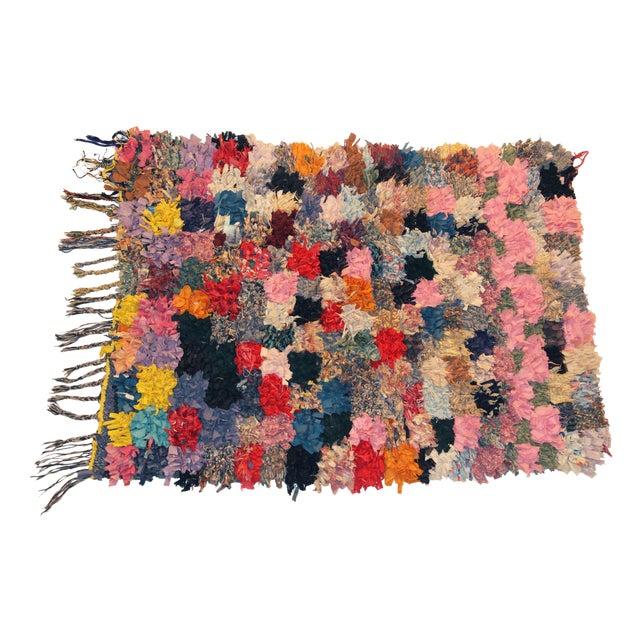 """Vintage Boucherouite Rag Rug - 3'5""""x4'6"""" - Image 1 of 3"""