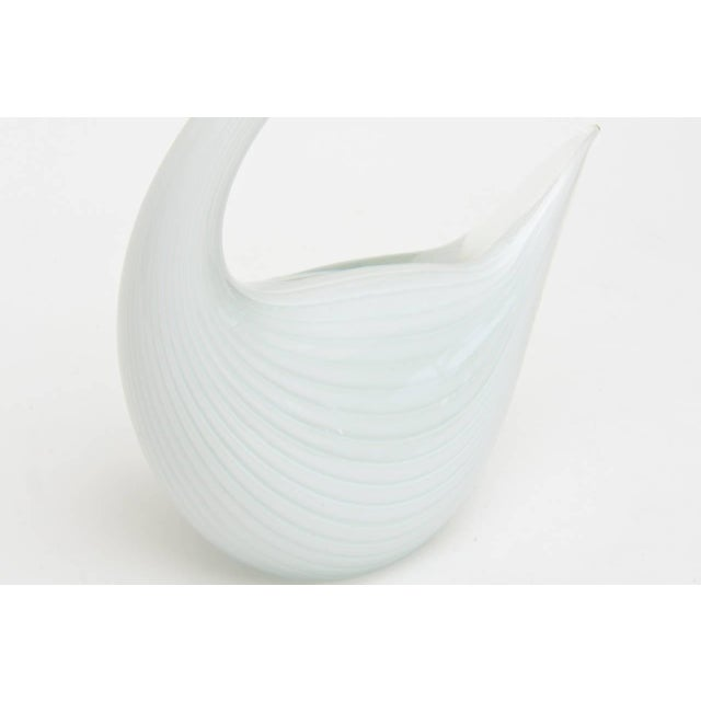 Italian Murano Graceful Large Glass Modernist White Swan For Sale - Image 9 of 10