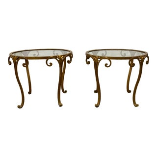 Pair 1950s French Gilt Wrought Iron Glass Top Side Tables For Sale