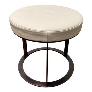 """Contemporary American Leather Ivory Leather Upholstered With Bronze Base """"Dale"""" 18"""" Ottoman For Sale"""