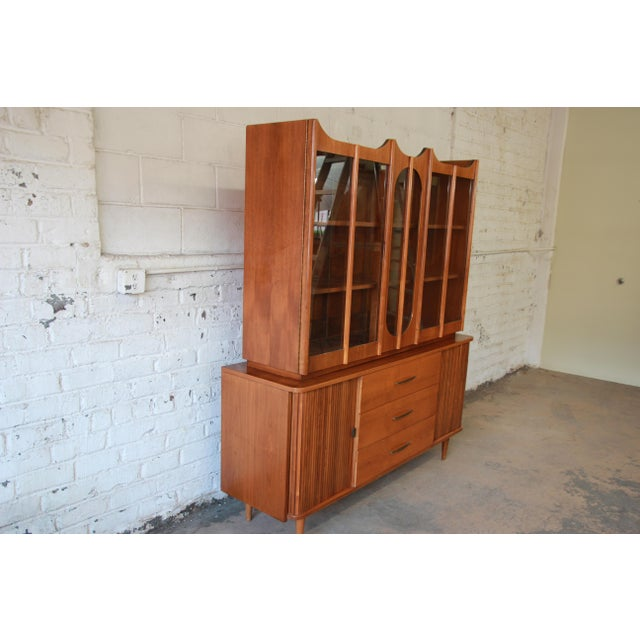 Mid-Century Modern Tambour Door Sideboard Credenza with Glass Front Hutch Top For Sale - Image 5 of 11