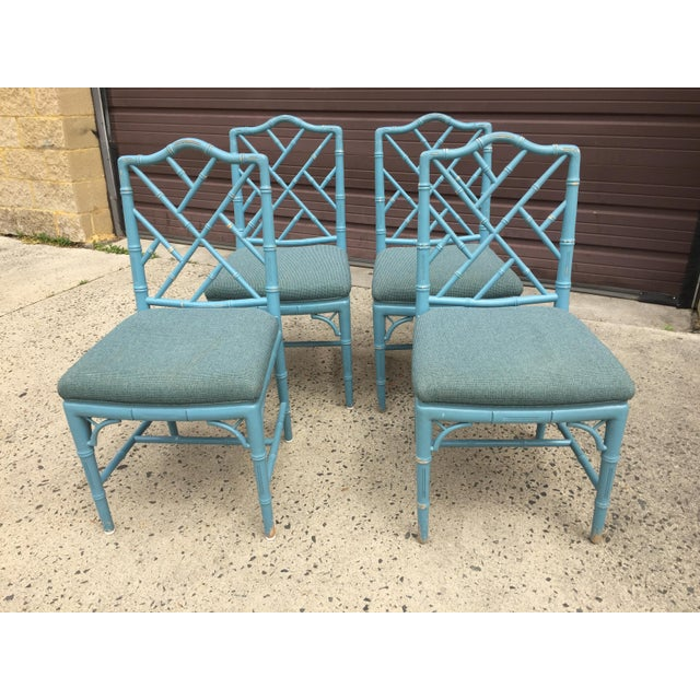 Asian 1980s Vintage Faux Bamboo Chinese Chippendale-Style Dining Chairs- Set of 4 For Sale - Image 3 of 5