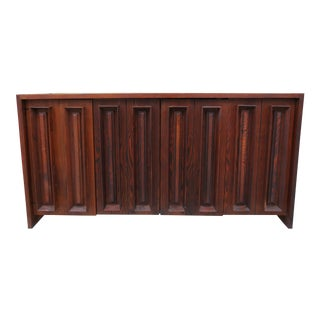 Pecky Cypress and Walnut Credenza by Dillingham For Sale