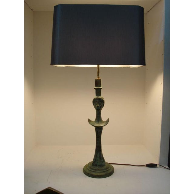 Pair of Verdigris Bronze Sculptural Table Lamps - Image 4 of 7