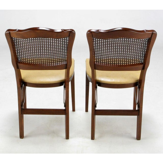 Traditional Set of Four Mahogany, Cane & Leather Regency Folding Chairs For Sale - Image 3 of 11