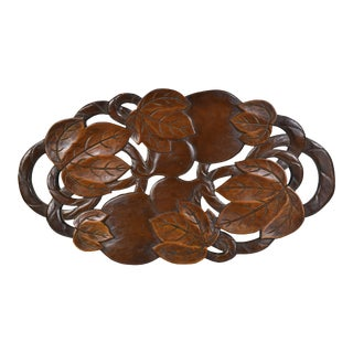 Hand Carved Solid Wood Leaves Fruit Design Tray Centerpiece For Sale