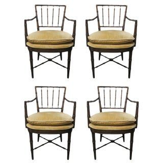 Four Faux Bamboo Armchairs