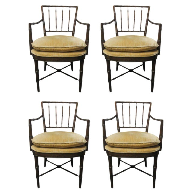 Four Faux Bamboo Armchairs For Sale