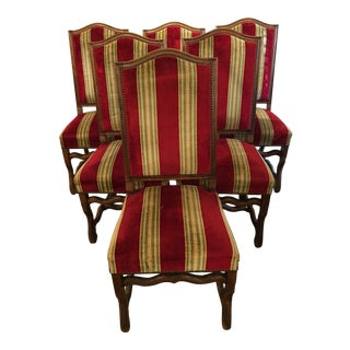 Louis XIII Style Striped Upholstered Dining Chairs - Set of 6